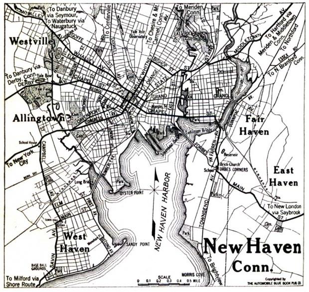 Mapa de la Ciudad de New Haven, Connecticut, Estados Unidos 1920