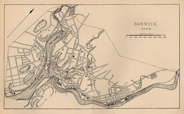 Mapa de la Ciudad de Norwich, Connecticut, Estados Unidos 1880