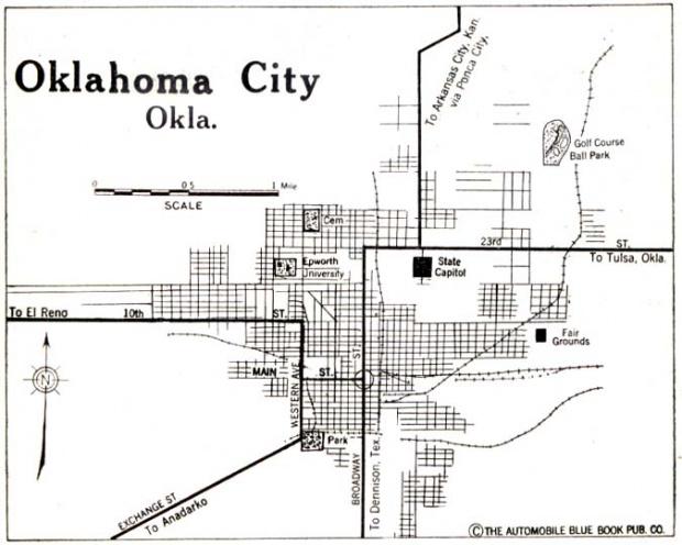 Mapa de la Ciudad de Oklahoma City, Oklahoma, Estados Unidos 1920