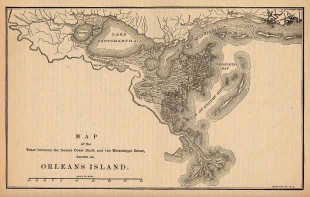 Mapa de la Ciudad de Orleans Island, Luisiana, Estados Unidos 1880