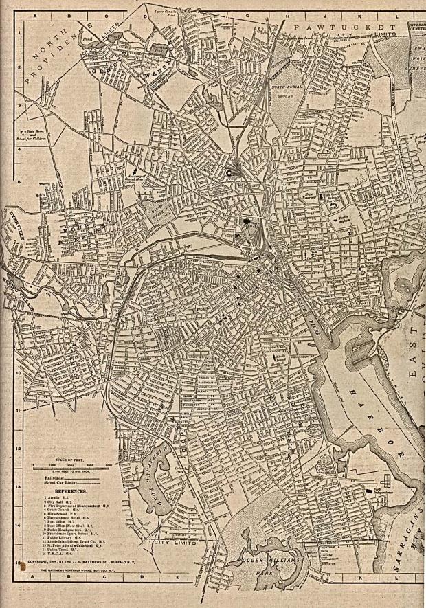 Mapa de la Ciudad de Providence, Rhode Island, Estados Unidos 1917
