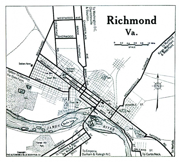 Mapa de la Ciudad de Richmond, Virginia, Estados Unidos 1919