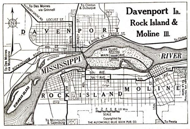 Mapa de la Ciudad de Rock Island, Illinois, Estados Unidos 1919