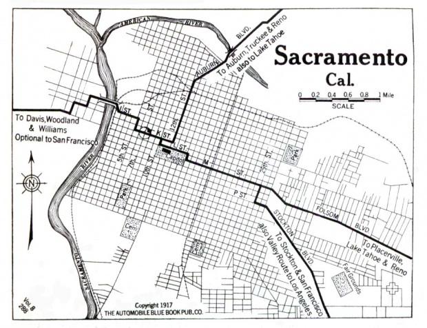 Mapa de la Ciudad de Sacramento, California, Estados Unidos 1917