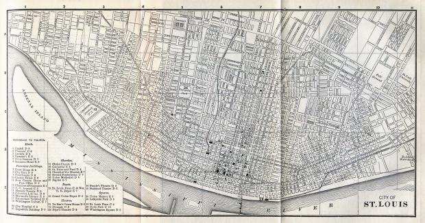 Mapa de la Ciudad de Saint Louis, Missouri, Estados Unidos 1885