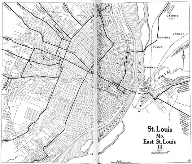 Mapa de la Ciudad de Saint Louis, Missouri, Estados Unidos 1920