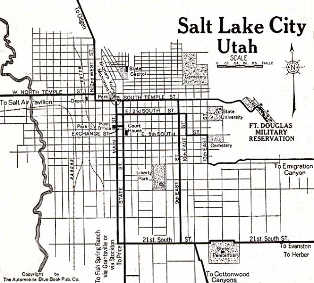 Mapa de la Ciudad de Salt Lake City, Utah, Estados Unidos 1920