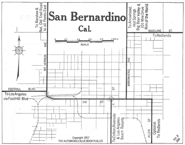Mapa de la Ciudad de San Bernadino, California, Estados Unidos 1917