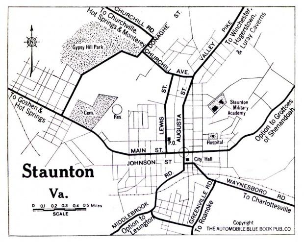 Mapa de la Ciudad de Staunton, Virginia, Estados Unidos 1919