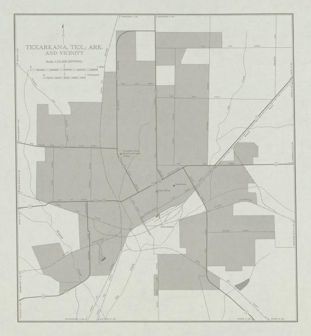 Mapa de la Ciudad de Texarkana y Cercanías, Texas, Estados Unidos 1953