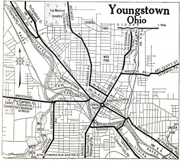 Mapa de la Ciudad de Youngstown, Ohio, Estados Unidos 1920