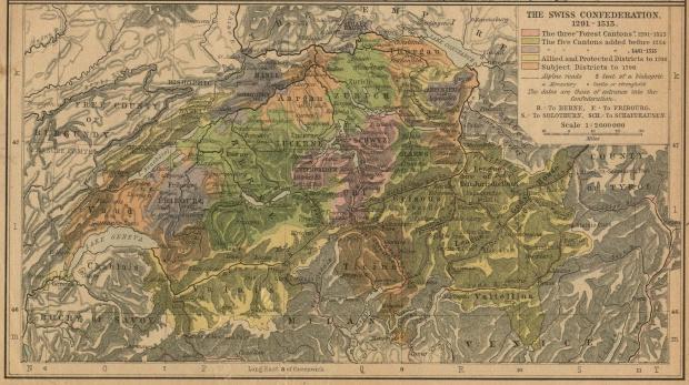 Mapa de la Confederación Suiza 1291 - 1513