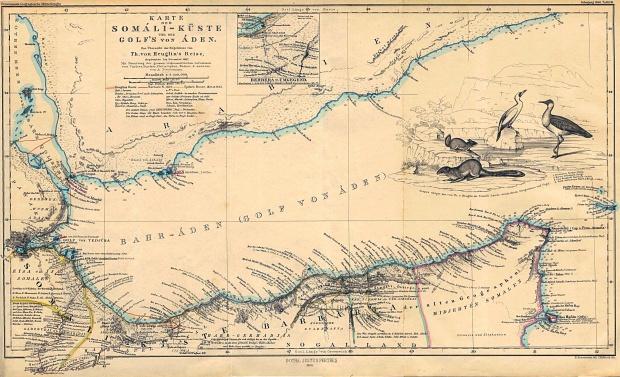 Mapa de la Costa de Somalia y del Golfo de Adén 1860