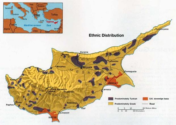 Mapa de la Distribución Étnica de Chipre
