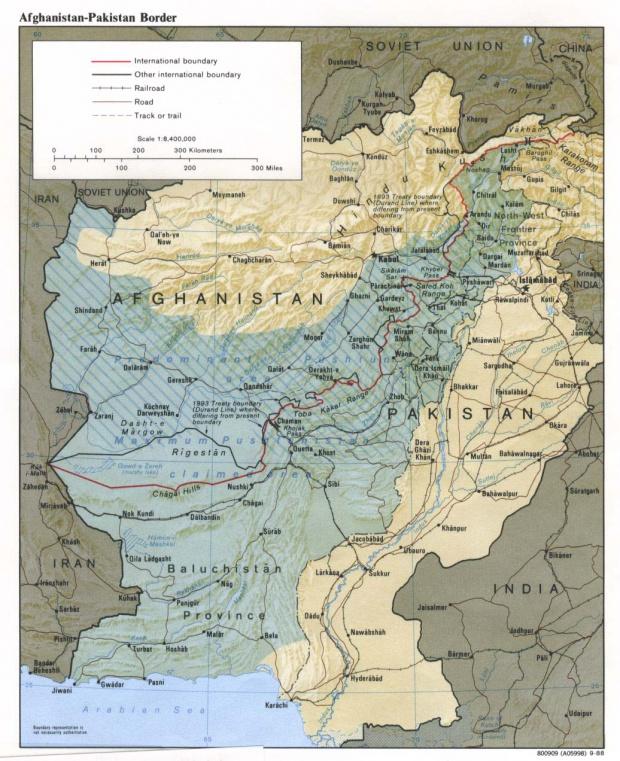 Mapa de la Frontera de Pakistán - Afganistán (Pashtunistán)