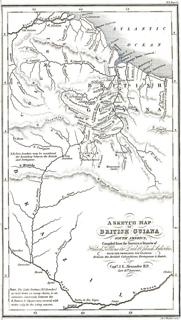 Mapa de la Guyana Británica 1832