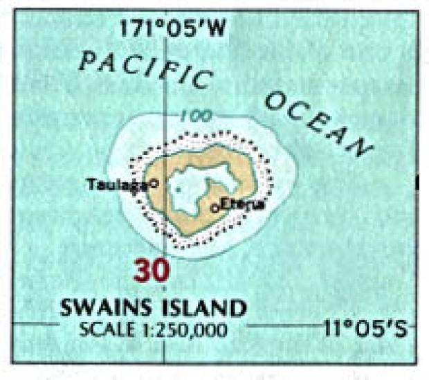 Mapa de la Isla Swains, Samoa Americana