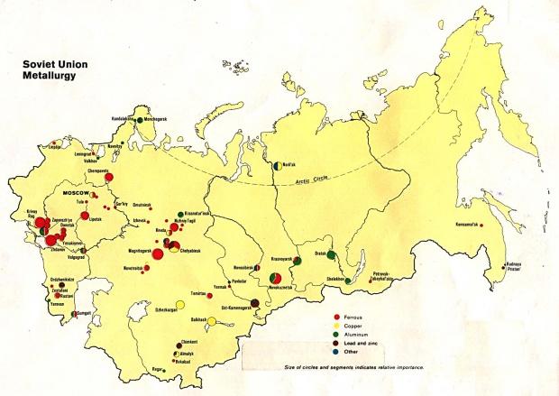 Mapa de la Metalurgia en la ex Unión Soviética