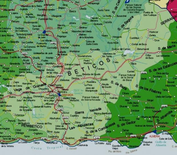 Mapa de la Provincia Granada,  España