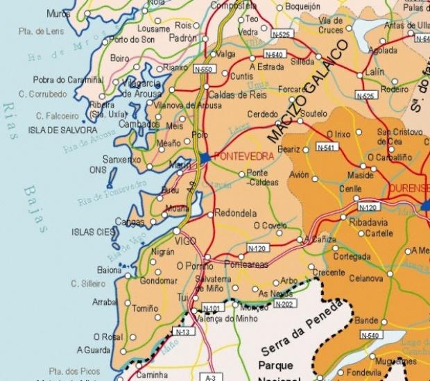 Mapa de la Provincia Pontevedra, España