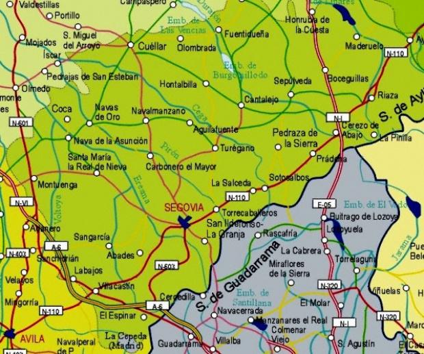 Mapa de la Provincia Segovia, España