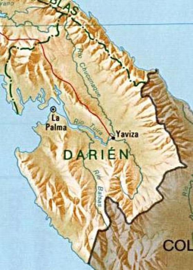 Mapa de la Provincia de Darién, República de Panamá