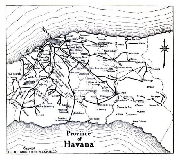 Mapa de la Provincia de La Havana, Cuba 1919