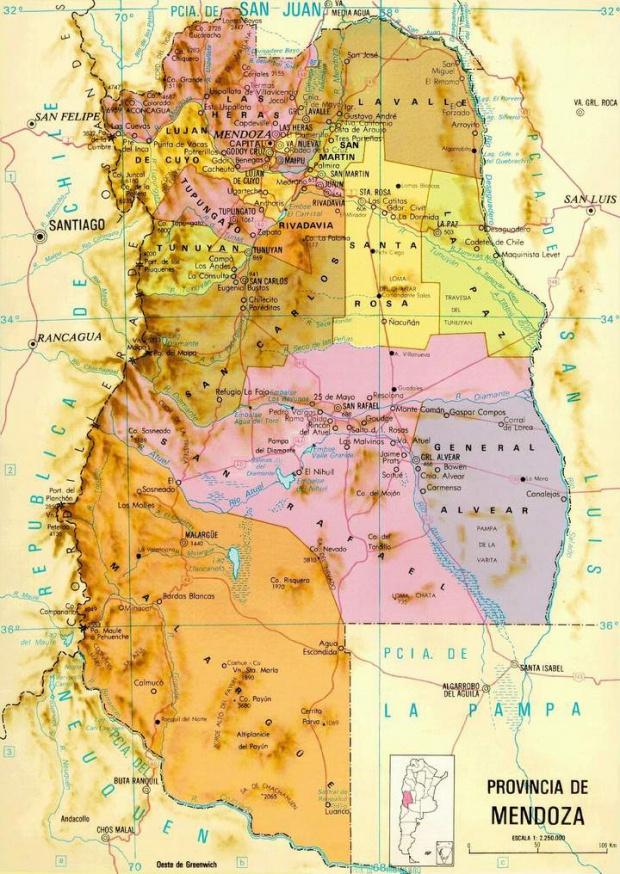 Mapa de la Provincia de Mendoza, Argentina