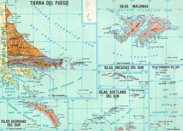 Mapa de la Provincia de Tierra del Fuego, Argentina