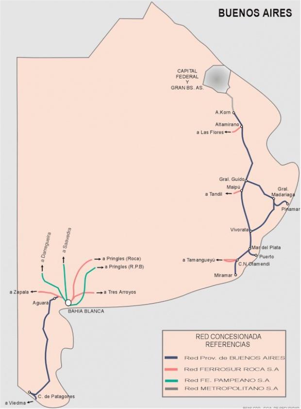 Mapa de la Red Ferroviaria de la Prov. Buenos Aires, Argentina