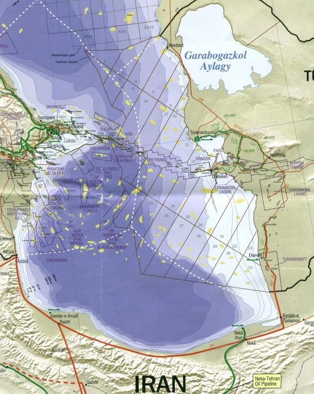 Mapa de la Región Meridional del Mar Caspio