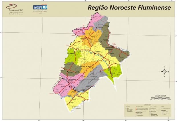Mapa de la Region Noroeste, Edo. Rio de Janeiro, Brasil