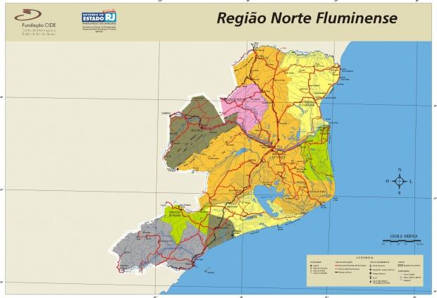 Mapa de la Region Norte, Edo. Rio de Janeiro, Brasil