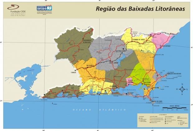 Mapa de la Region de las Baixadas Litorâneas, Edo. Rio de Janeiro, Brasil