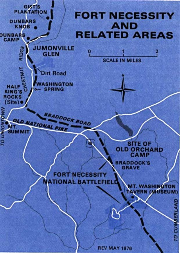 Mapa de la Región del Campo de Batalla Nacional Fort Necessity, Pensilvania, Estados Unidos