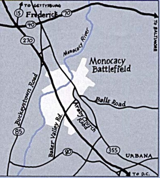 Mapa de la Región del Campo de Batalla Nacional Monocacy, Maryland, Estados Unidos