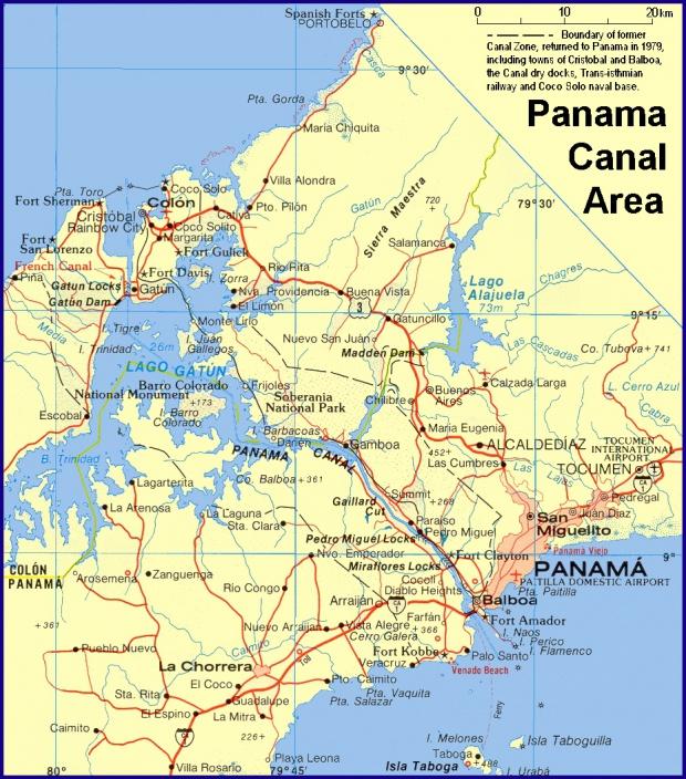 Mapa de la Region del Canal y Ciudad de Panamá