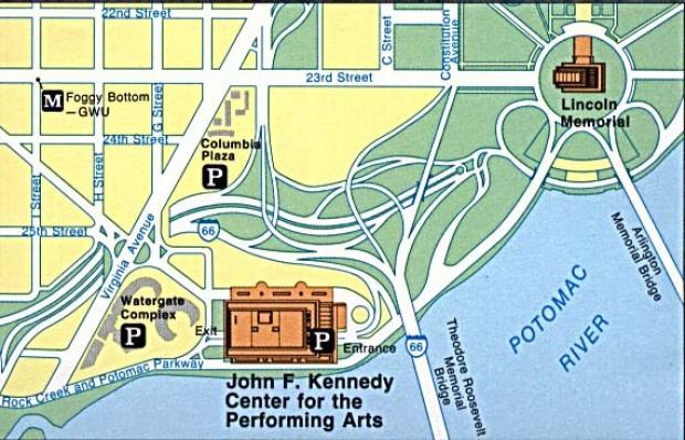 Mapa de la Región del Centro John F. Kennedy Para las Artes Escénicas, Washington D.Circa, Estados Unidos