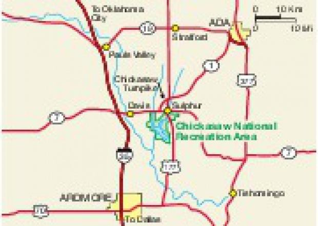 Mapa de la Región del Chickasaw Área Nacional de Recreación, Oklahoma, Estados Unidos