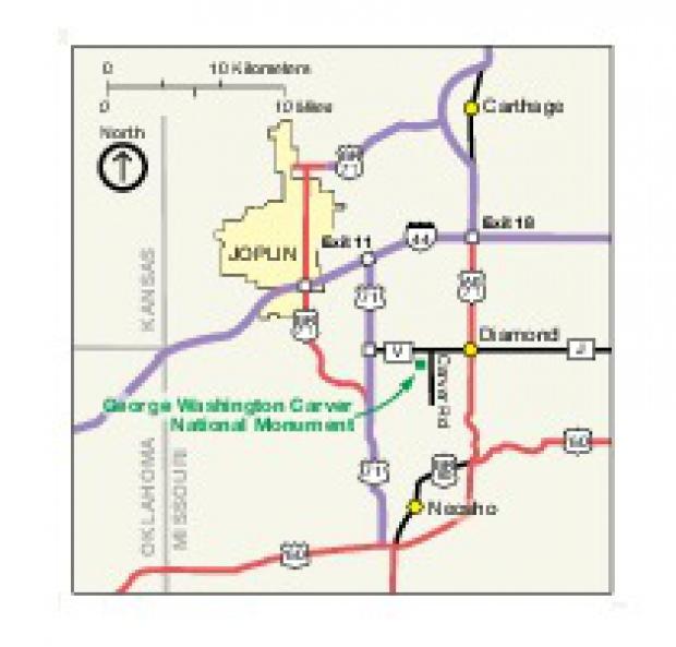 Mapa de la Región del Monumento Nacional George Washington Carver, Missouri, Estados Unidos