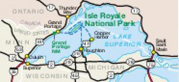 Mapa de la Región del Parque Nacional Isle Royale, Michigan, Estados Unidos