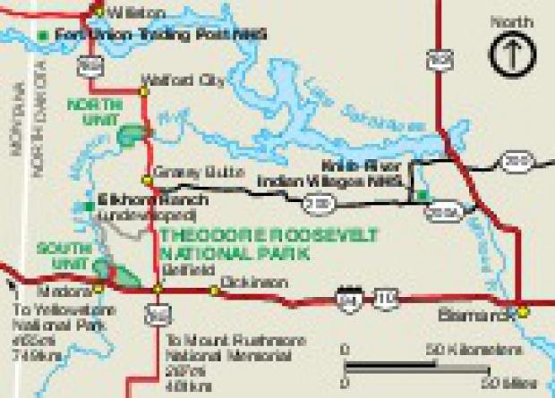 Mapa de la Región del Parque Nacional Theodore Roosevelt, Dakota del Norte, Estados Unidos