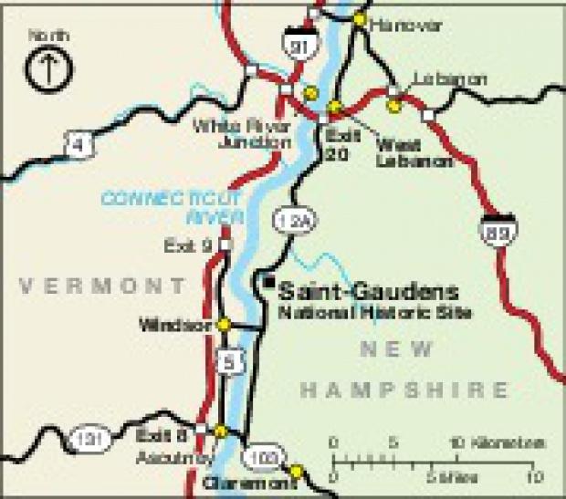 Mapa de la Región del Sitio Histórico Nacional Saint-Gaudens, Nuevo Hampshire, Estados Unidos