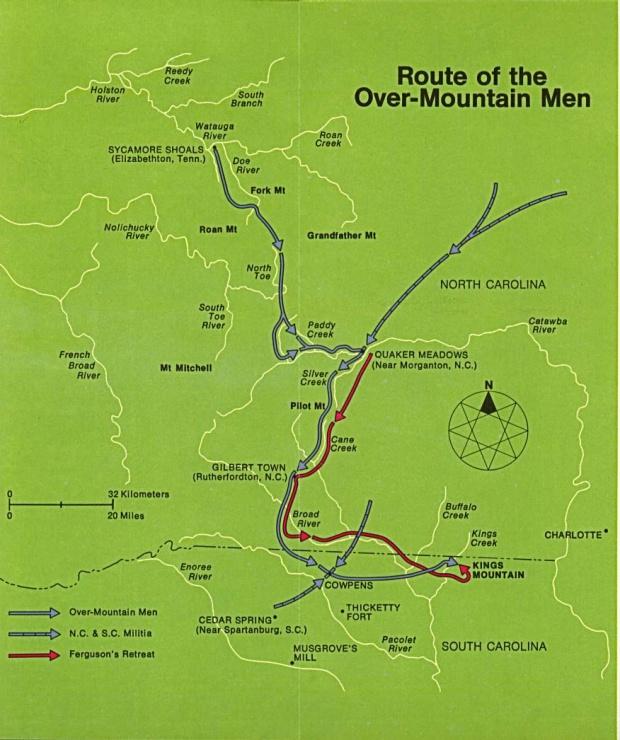 Mapa de la Ruta de los Over-Mountain Men, Batalla de Kings Mountain 1780