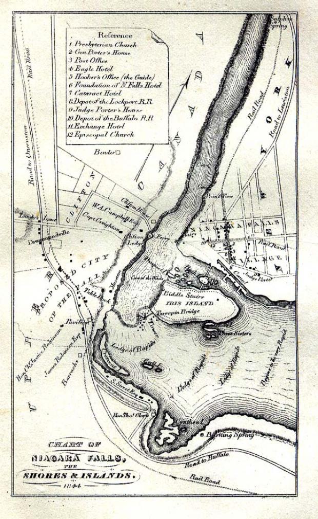 Mapa de las Cataratas del Niágara, Estados Unidos - Canadá 1844