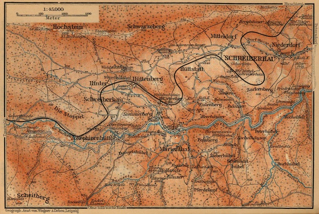 Mapa de las Cercanías de Szklarska Poreba (Schreiberhau), Polonia 1910