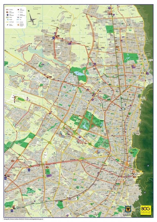 Mapa de las Ciclorutas de Bogotá