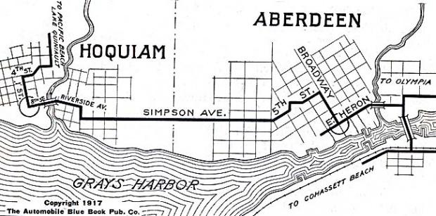 Mapa de las Ciudades de Hoquiam y Aberdeen, Washington, Estados Unidos 1917
