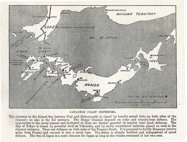 Mapa de las Defensas Costeras, Japón 1907