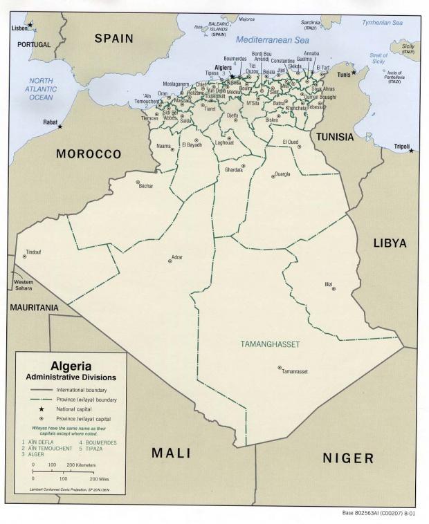 Mapa de las Divisiones Administrativas de Argelia